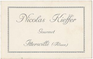 Carte de visite de Nicolas Kieffer 1919