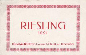 Etiquette de vin Nicolas Kieffer 1921