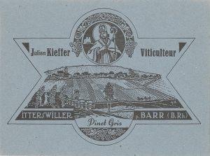 Etiquette de vin de Julien Kieffer après 1945