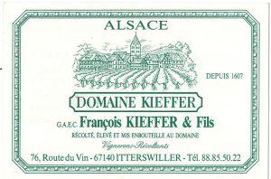 Carte de visite du Domaine Kieffer vers 1989